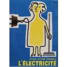 "Original French Poster Advertising ""L'Electricite"" by Savignac 1952"