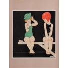 "Original Vintage Lithograph ""Two Girls"" by Rene Vincent 1920's"