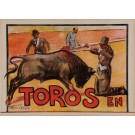 "Original Vintage Mexican Poster for ""Toros En"" Bull Fighting by C. Ruanos Llapis ca. 1940"