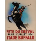 "Original Vintage French Poster for ""Fete du Cheval"" Horses by Chancel 1934"