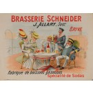 "Original Vintage French Poster for ""Brasserie Schneider"" by A. Quendray 1920's"