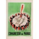 """Original Vintage Italian Propaganda Poster for """"Congresso di Parigi"""" 1950's-60's"""