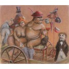 Original Vintage Israeli Drawing Naked Couple in Circus by Itzik Maimon
