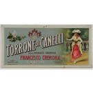"Original Vintage Italian Food Advertising Tin Relief Poster for ""Torrone di Canelli"" ca. 1900"