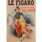 "Original Vintage French Newspaper Poster for ""Le Figaro"" by Rene Pean ca. 1900"