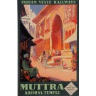 "Original Vintage French Travel Poster ""MUTTRA KRISHNA TEMPLE"" by ROGER BRODERS 1928"