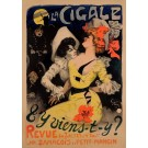 "Original Vintage French Poster ""T'y Viens-T'y? - La Cigale"" by Grun 1900"