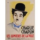 """Original Charlie Chaplin Movie Poster """"Les Lumieres de La Ville"""" by Bobet 1930"""