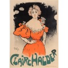 "Original Vintage French Poster ""Claire Halder"" by Grun. 1898"