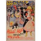 """Original Vintage French Poster """"La Cigale - Allo! Allo! Revue"""" by Grun 1898"""
