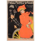 "Original Vintage French Poster ""Pneus Ferres Gallus"" by Grun 1901"