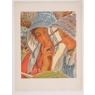 "Original French Lithograph ONLY L'Estampe Moderne N.22 ""Liseuses"" by Hawkins"