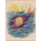 "Reuven Rubin Signed lithograph 53/200 ""Jonah and the Fish"" 62x48 cm"