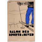 """Original Vintage French Original Art Deco Maquette For Ski """"Salon Des Sports D'Hiver"""
