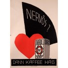 "Original Vintage Swiss Poster for ""Kaffee Hag / Nervös?"""