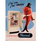 "Original Vintage French Advertising Poster for ""Narval"" Refrigerator"