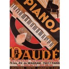 French Poster for Pianos Daude - 1980's