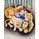 """Original Signed Acrylic Painting """"12 Signs of the Zodiac - Leo"""" by Y. Mahler"""