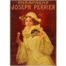 Vintage Advertising French CHAMPAGNE Poster - Joseph Perrier - Sold As Is