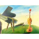 "Original Acrylic on canvas Painting by Hei Feng ""The Lonely Piano"""