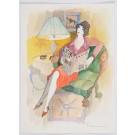"Original Painting Watercolor SIGNED Isaac Tarkay  ""Reading The News"""