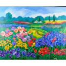 """Original Signed Acrylic on Canvas Painting """"Field of Flowers"""" by Heddy Kun"""
