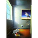 "Original Oil Painting on Canvas ""A Room With a Bird"" by Ferjo 1996"