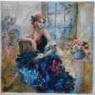 "Original Acrylc on Canvas ""Gipsy Girl"" by Francis"