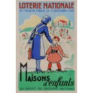 Original Vintage French Loterie National Poster ,Tranches des Maisons  d'Enfants