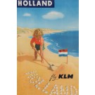 Original Vintage French Poster Advertising HOLLAND Fly KLM