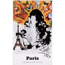 "Original Vintage Poster On Paper Chemins de fer Français ""Paris"" by Salvador Dali 1969"