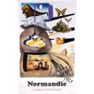 """Original Vintage Poster On Paper Chemins de fer Français """"Normandie"""" by Salvador Dali 1969"""