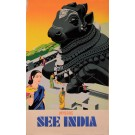 "Original Vintage French Poster  for ""See India"" Travel"