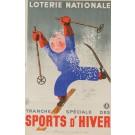 """Original Vintage Loterie Nationale Poster  """"Sports d' Hiver"""" by Derouet Lesacq 1938"""