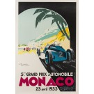 Original LITHOGRAPH Of The Monaco Car Race 1933 Poster