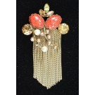 Vintage Designers Gold-tone Faux Pearls Rhinestones Brooch Pin by WEISS