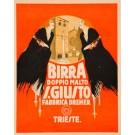 """Original Vintage Small Italian Alcohol Poster for """"Birra Doppio Malto S. Giuito"""" 1930's"""
