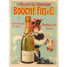 """Original Vintage French Alcohol Advertising Poster """"Bouché """" by Tamagno ca. 1900"""