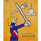 "Original Vintage French Poster ""Cafe-Bar Hoche"" by Savignac 1980's"