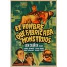 """Original Vintage Spanish Movie Poster """"El Hombre Que Fabica Monstruos"""" - Valenca Grapicas"""