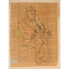 "Original Vintage American Drawing on Paper ""Seated Man"" by Joseph Solman"