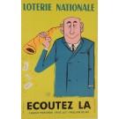 "Original Vintage Loterie Nationale Poster ""Ecoutez"", 1961"