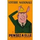 "Original Vintage Loterie Nationale Poster ""Pensez A Elle"" 1961"