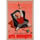 """Original Vintage Loterie Nationale Poster """"Arts Menagers"""" by Derouet 1938"""