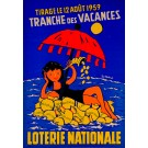 """Original Advertising poster """"Loterie Nationale"""" by Chabrol Guy Chabrol 1959"""