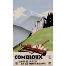 "Original Vintage French Poster for Ski Travel Poster ""Hotel Combloux"" by Commarmond 1930's"