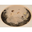 Original Oval Lithograph of The Birds Lady ca 1900