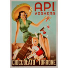Original Italian Chocolate Poster for A.P.I Company in Voghera