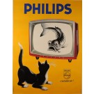"Original Vintage French Poster Advertising ""Philips"" Television 1950's"