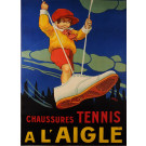 """Original Vintage French Poster """"A L'Aigle"""" Tennis Shoes by ALY 1923"""